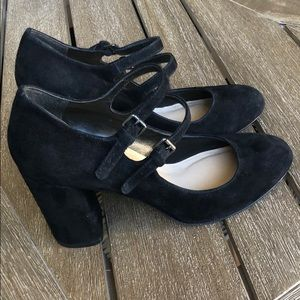 Via Spiga Shoes - Via Spiga Black Suede 2 Strap Mary Jane Heels sz 6